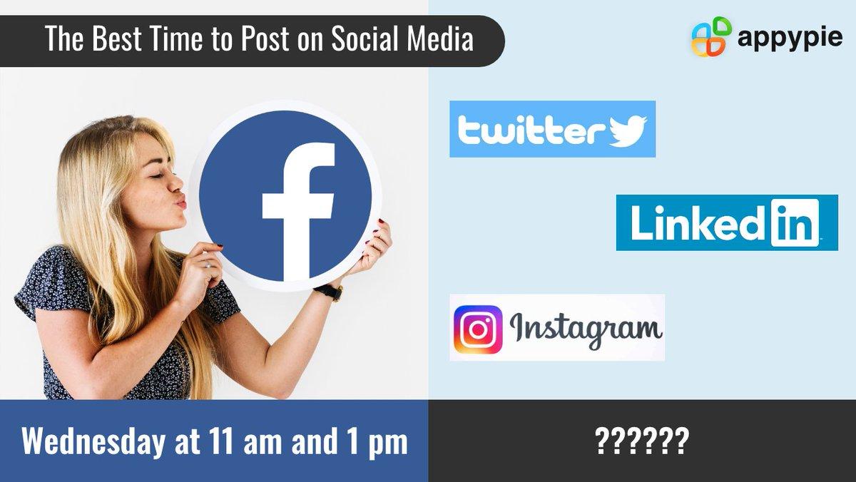 What is the best time to post on social media?  #Facebook #Twitter #LinkedIn #Instagram #besttime http://bit.ly/2FJOVikdjpic.twitter.com/YCRapyZsrR