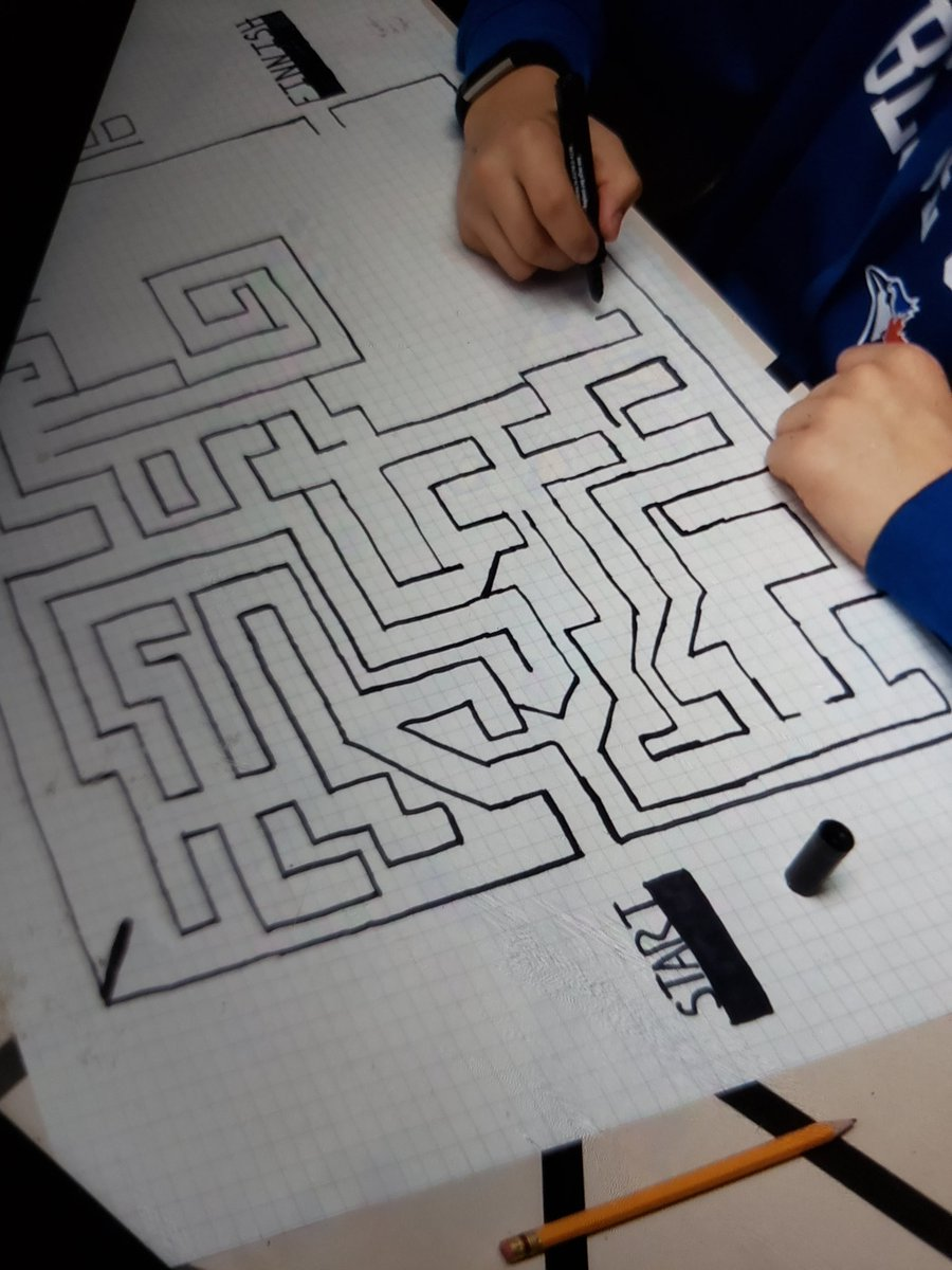 #angles Students loved making these angle mazes and sharing them with the grade 1s and 2s. @DunwichDuttonPS We then took the maze making to the next level, creating one giant outdoor maze in the snow. #handsonlearning pic.twitter.com/IOfLsldLBq