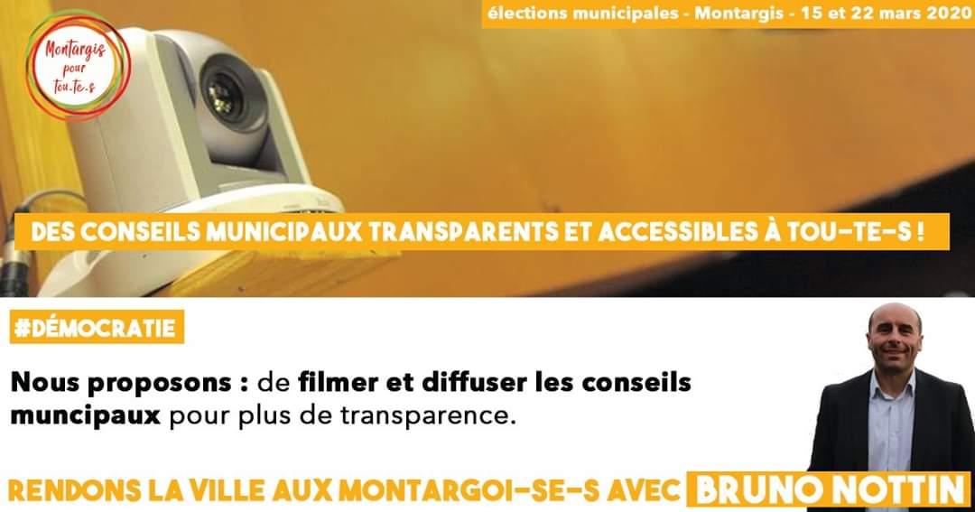 [1jour/1proposition] #Démocratie #Montargis #Municipales2020   Filmer et diffuser les conseils municpaux, c'est permettre à tou-te-s d'avoir accès aux débats ainsi qu'aux décisions prises pour notre ville !pic.twitter.com/65LsHV2UNH