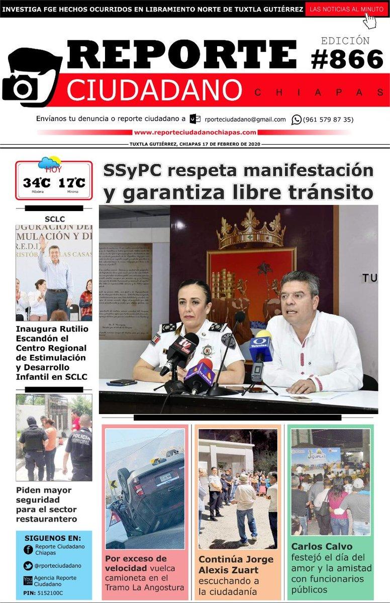 Buenos días Chiapas, vea nuestra portada de hoy 17 de febrero del 2020pic.twitter.com/K8l2z6n8uu