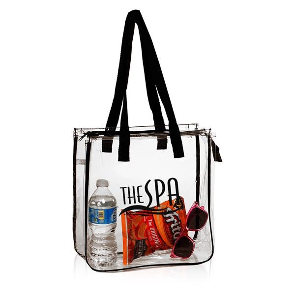 "Promote your brand with this economy Clear Vinyl Tote bag, Stadium compliant zippered bags, This trendy bag measures 12""x12""x6"" and is available in 100% see through clear vinyl pvc material. #PromoProducts #StadiumBag #ClearToteBag http://www.txcustomprints.com  https://bit.ly/2vDAM40 pic.twitter.com/Auv1B3pvku"