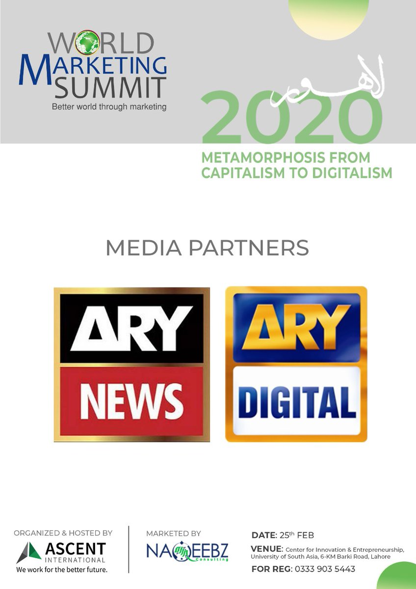 Announcing our media partner   #WorldMarketingSummit #WMSLahore #KotlerImpact #AscentInternational #NaqeebzConsulting #ARYNews #ARYDigital pic.twitter.com/pKBiNUhQ0N