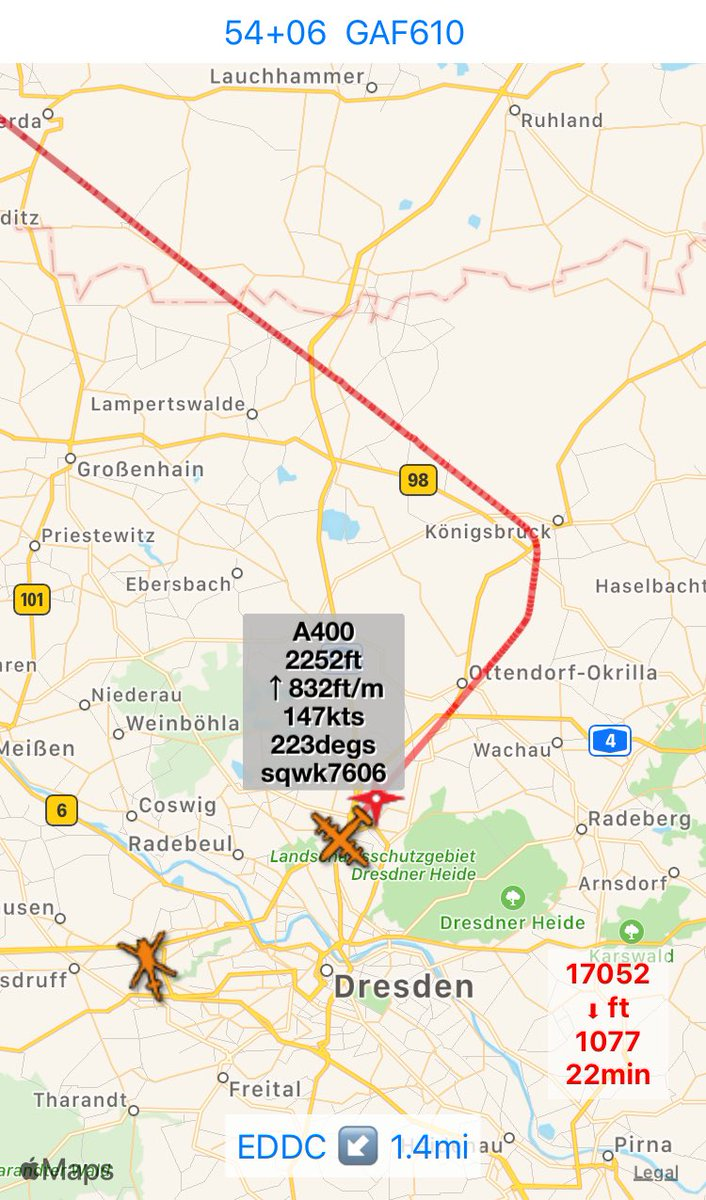 #realadsb #EDDC Type: #A400 Tail: #54+06 Callsign: #GAF610 Icao: #3F7001 another touch'n'go in #DRS