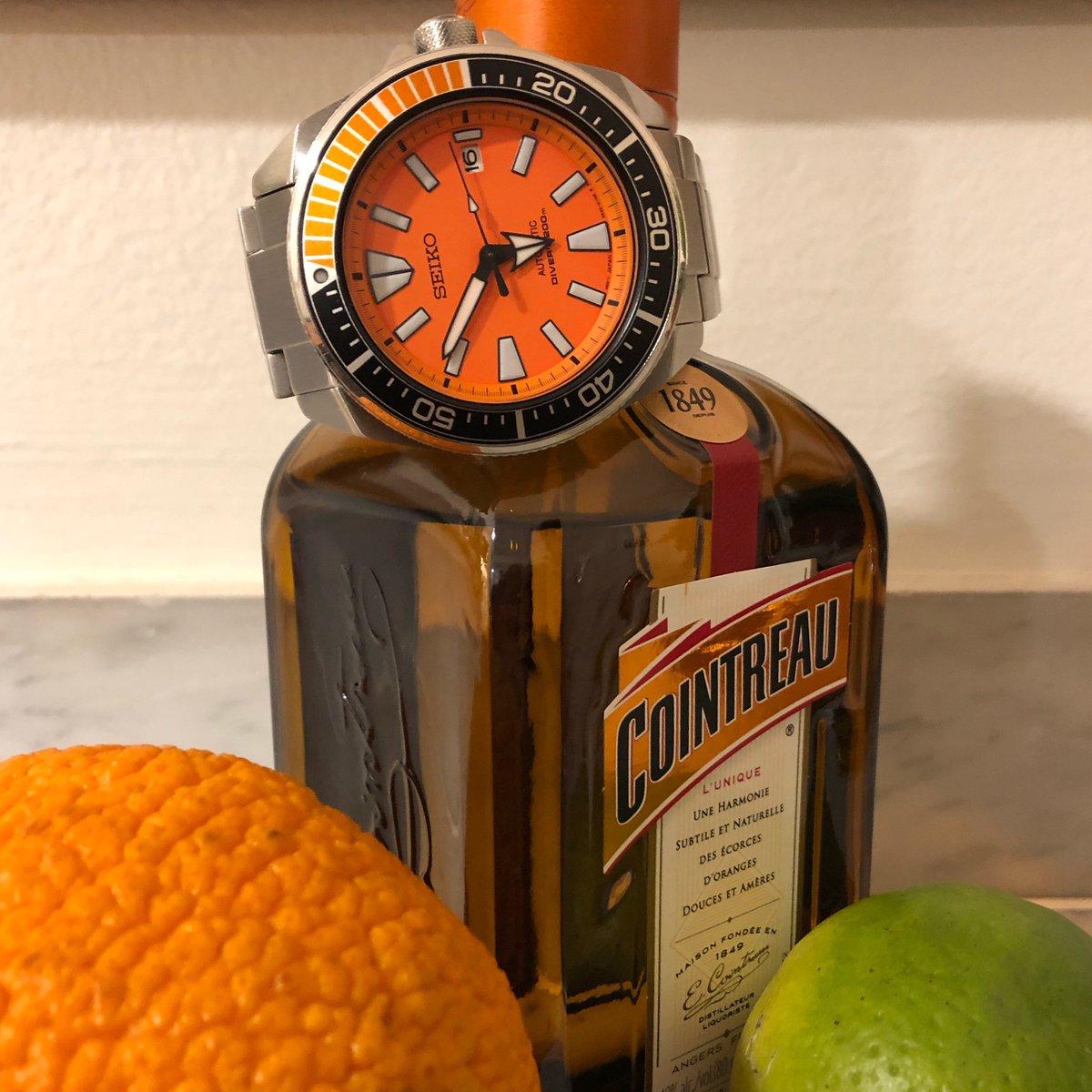 Fighting scurvy... the Orange Samurai with Cointreau and accoutrements: ref. Seiko SRPC07   #Seiko #SeikoSamurai #OrangeSamurai #SRPC07 #cointreau @seikowatches https://t.co/6FON20gWrZ