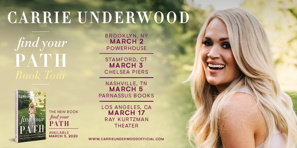 I'll be heading out on my first book tour soon to celebrate the release of #FindYourPath! Hope to see you there! http://carrieunderwoodofficial.com/findyourpath