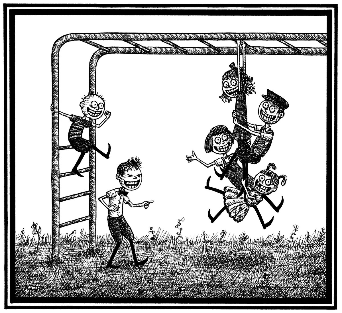 """""""Monkey bars become efficient, Making shoulder blades deficient."""" An excerpt from #TheEnviousSiblings."""