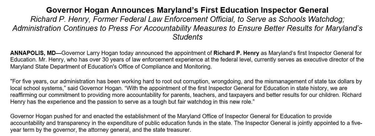 With big legislative hearing on Kirwan Commission recommendations on tap at noon, @GovLarryHogan tries to get in on today's conversation about education