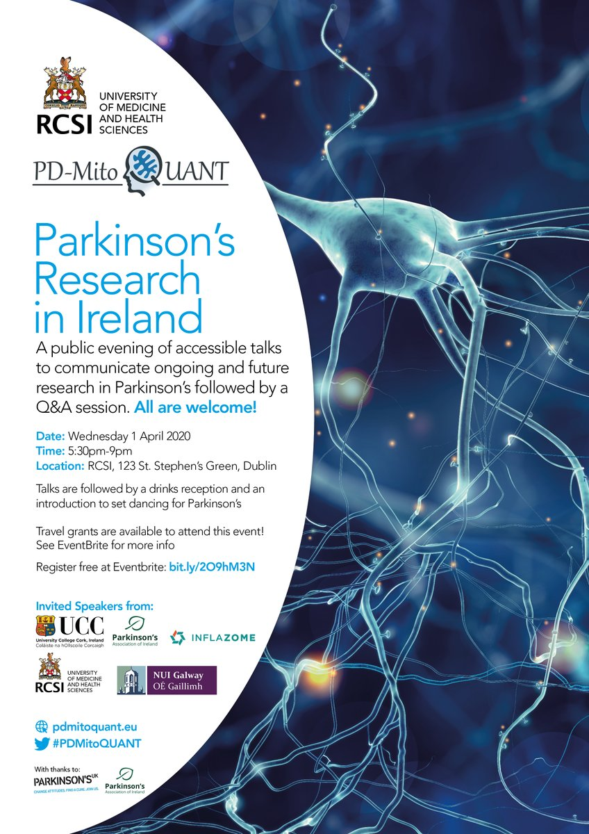 The show must go on! 🤩We have now moved this event online! Come join us (virtually!) as we share progress on Parkinson's research in Ireland over three weeks through short, lively talks! Register at https://t.co/ZvGvRuF5zU #PDMitoQUANT @ParkinsonsIre  @RCSI_Research @RCSI_Irl