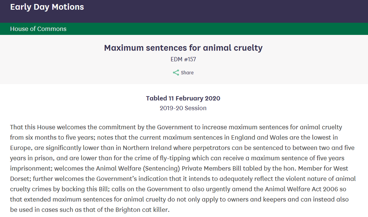 Animals are sentient beings & deserve better protection Govt supports a 5-year maximum sentence for animal cruelty. This should apply to anyone guilty of cruelty, not just owners or keepers. More here👇 carolinelucas.com/latest/tougher… Pleased to have cross-party support for my EDM