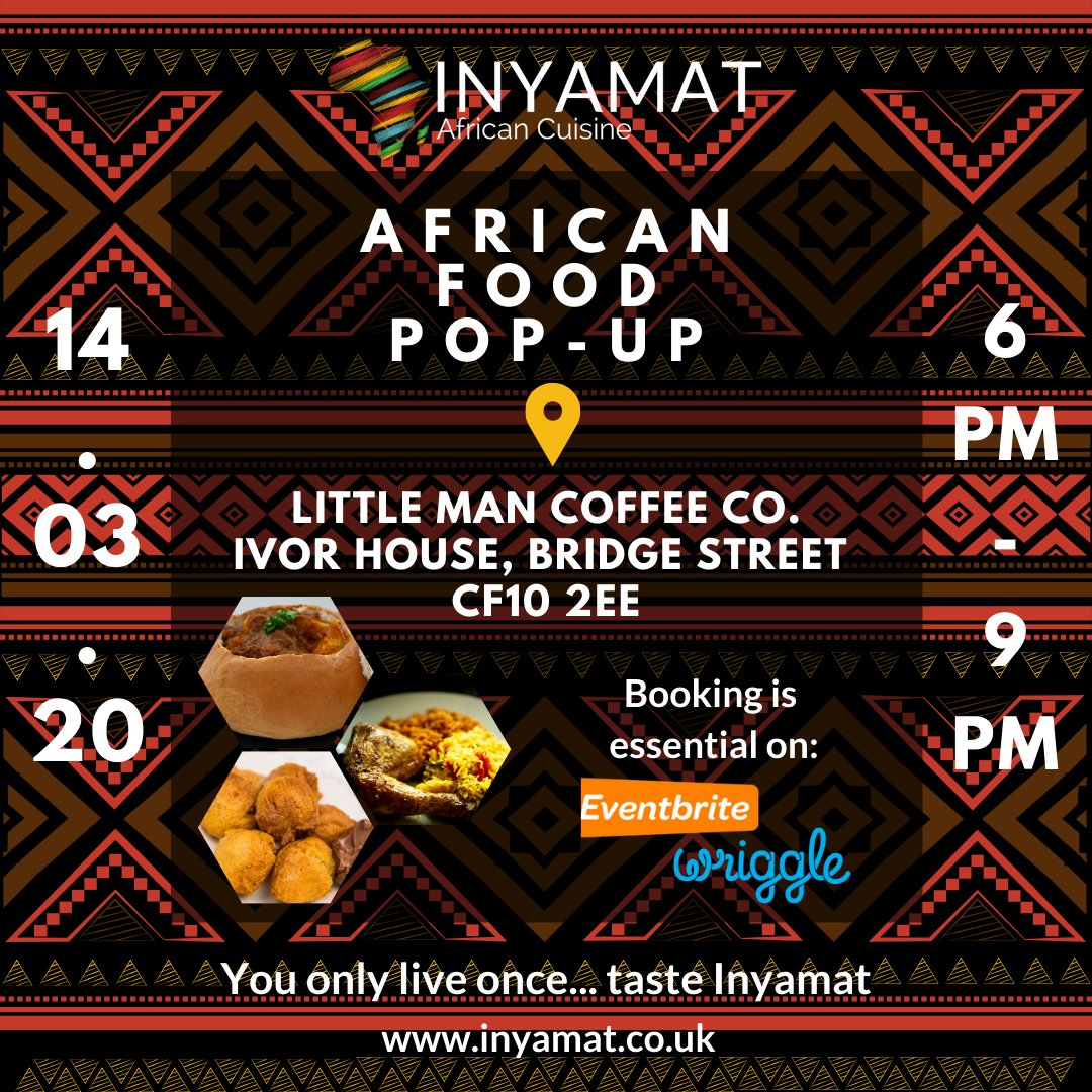 Have you got your ticket yet? It's never too early.... #popupfood #food #foodie #foodblogger #homecooking #africanfood #oxtail #chickensuya #yamfries #friedplantain #spinachandpeanutbutter #tilapia #mandazi #thisisinyamat #cardiffeats #africancuisine #smallbusiness #streetfoodpic.twitter.com/IfILAMAqwi