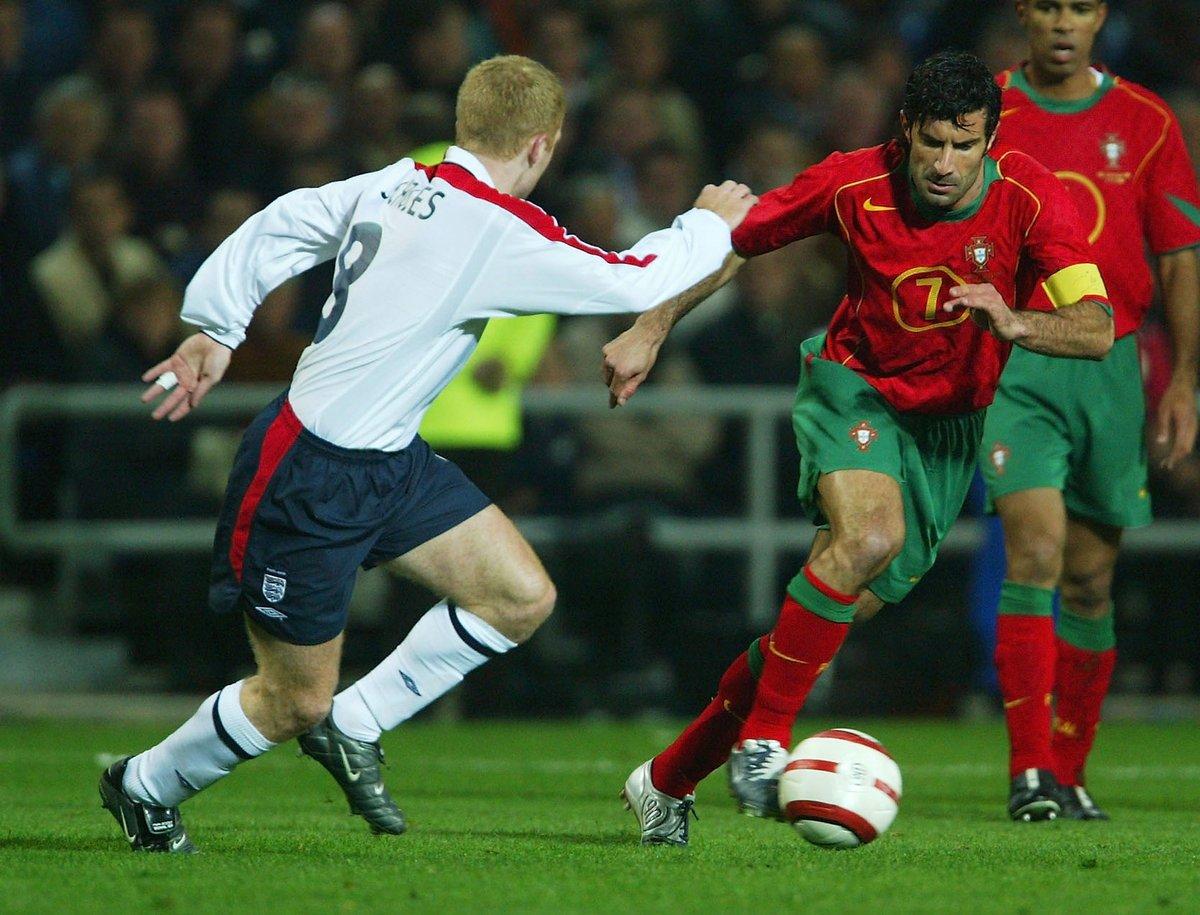 🇵🇹 #EURO2020 ambassador Luís Figo made his 100th Portugal appearance #OTD in 2004 🆚 England.  @selecaoportugal | @LuisFigo