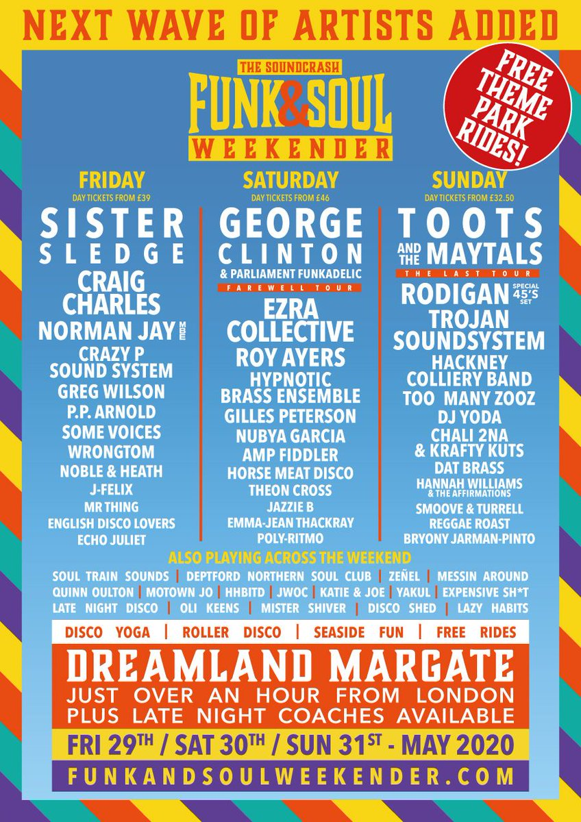 This line up is getting bigger & better for @FunkAndSoulWKND check @tootsmaytals @NormanJayMBE @DJYodaUK @JazzieB @SisterSledge_ @Chali2na & more - check our very own #hhbitd crew down in #Margate @DreamlandMarg too..  TIX: http://funkandsoulweekender.compic.twitter.com/jRIojiQqJK
