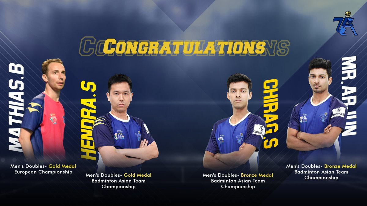 World Champions Boe and Hendra proving that age is just a number and the young guns Chirag and Arjun showing their metal on the World Stage.#7AcesPune #InItToWinIt #HaaKhelAamchaAhe #Badminton