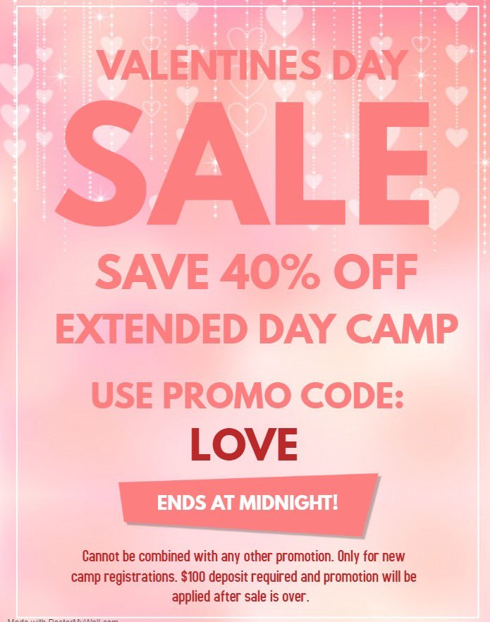 REMINDER: Tonight is the last night to get 40% OFF Extended Day! Type in code: LOVE in referred by. Promotion is for new camp registrations only! A $100 deposit must be paid! Discounts will not be applied until tomorrow when sale is over. #football #nfl #camps #PresidentsDay