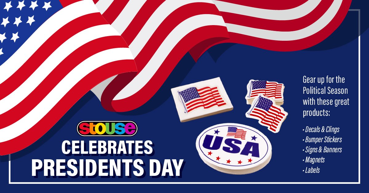 It's Presidents' Day and the #Stouse Team is here working hard for our customers. Stop by our website today for all your patriotic and political related products!  Click the link! >> http://bit.ly/39wEdbc  >> #HappyPresidentsDay #PresidentsDay #PromoProducts pic.twitter.com/BOk4nVNH6p