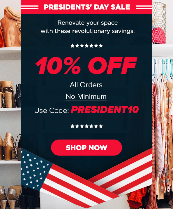 Presidents' Day Sale Going on Now! #organized #closetorganizer #closetgoals #closettip #closetdesign #diy #diyliving #diylife #doityourself #customclosets #dreamhome️pic.twitter.com/QwK0sK3K5d
