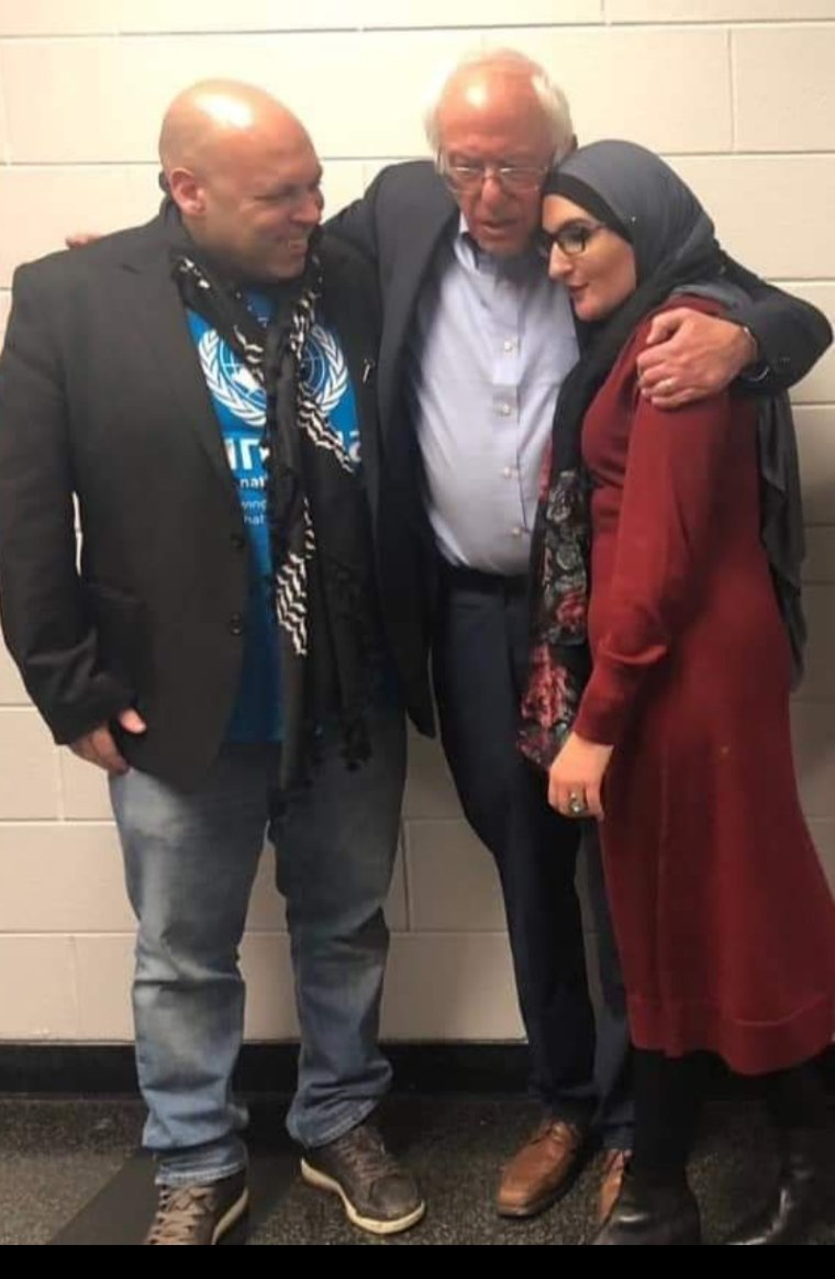Just found this on Facebook. Bernie Sanders hugging surrogates Linda Sarsour and Amer Zahr.