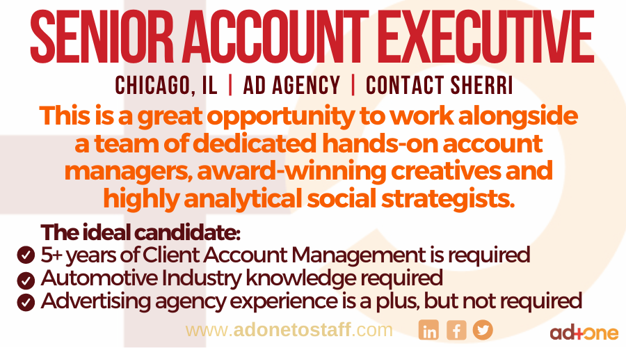 Apply today: http://bit.ly/2SCgEZ7  Reach out to: Sherri | Sherri@adonetostaff.com  #Accountmanagement #Advertising #adagency #agencylife #hiringnow #applytoday #jobseekers #jobsearch #worklifebalance #creative #digitaltrends #Chicago #careerspic.twitter.com/mWdyjQZ9Kn