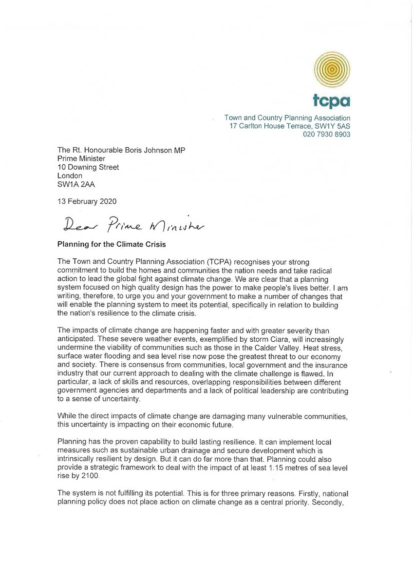 As the UK recovers from #StormDennis, its clear that we need a comprehensive planning system to enable us to build a resilience to our changing climate. We've written to the PM ahead of his White Paper on Planning urging just this. See the full letter 👇