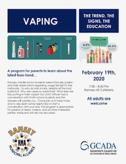 I hope you can join us this Wednesday, Feb. 19th at 7:30 pm in the RHS Cafeteria for this important Parent Academy about Vaping