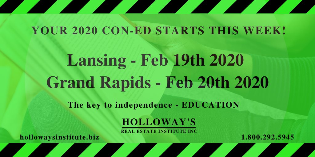 Your 2020 Con-Ed starts this week in Lansing & Grand Rapids.  http://hollowaysinstitute.biz  #michiganrealtors #michiganrealestate #lansingmichigan #Realestate #realtorlife #realestatenews #GrandRapidspic.twitter.com/CT197Y04k0