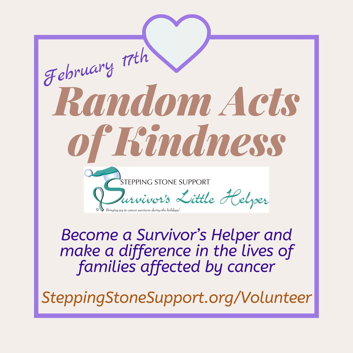 #RandomActsOfKindnessDay Become a Survivor's Helper - your kindness touches the lives of so many in need http://SteppingStoneSupport.org/volunteer #postivevibes #BeTheChange #cancersupport #KindnessMatterspic.twitter.com/OWbq513Fk5