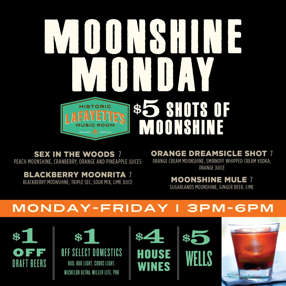 Were rolling out our new #happyhour menu this week! Stay tuned for our drink specials! Today is Moonshine Monday!