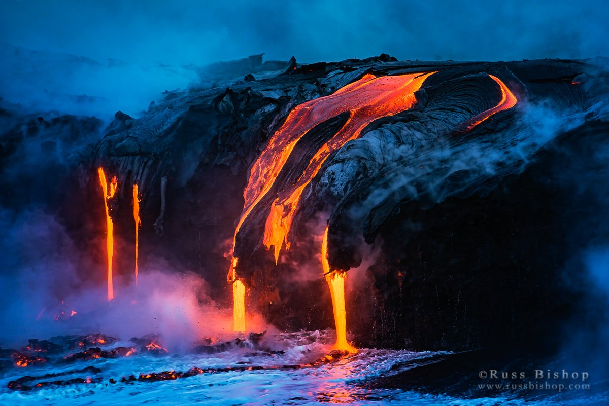 """Pele's Realm"" ~  Lava flow entering the Pacific at dawn, Hawaii Volcanoes National Park, Hawaii 