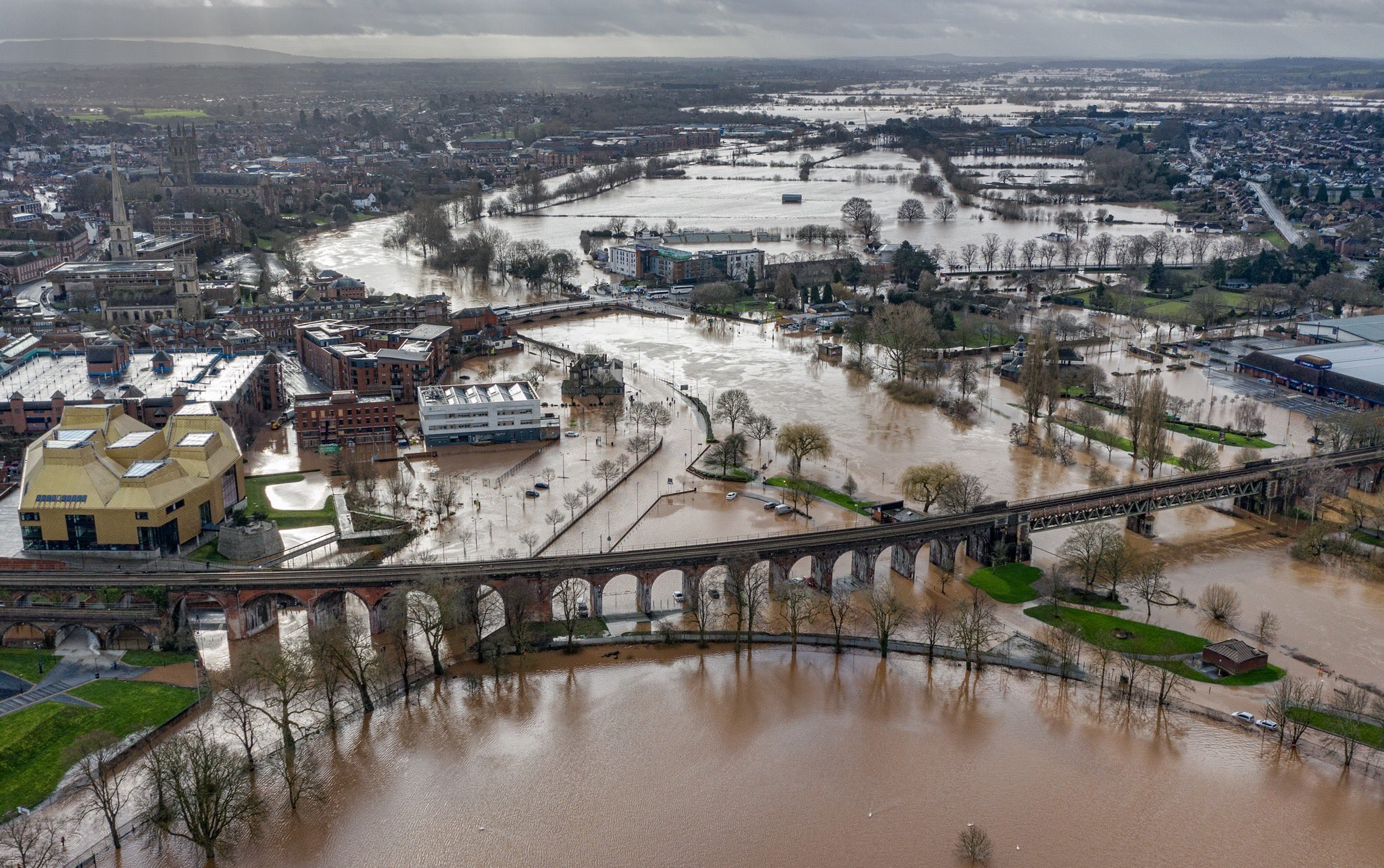 drone photo of flooding in Worcester due to storm Dennis