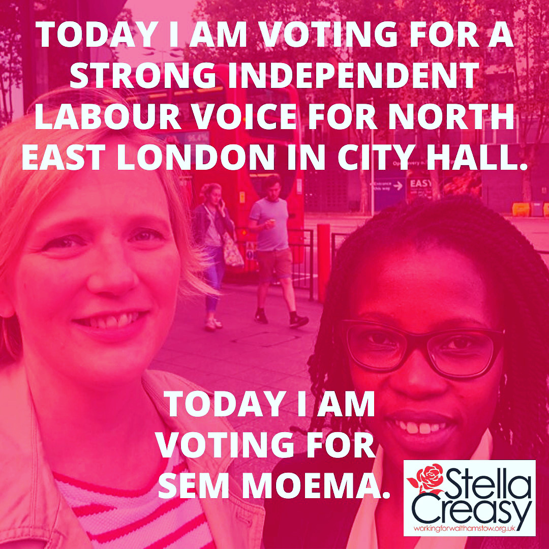 reminder if you live in hackney, Islington or Waltham Forest you have until Wednesday to vote for @Semakaleng for our voice in city hall - make her first preference to ensure a strong independent labour voice for our area! If you can't find email with vote details get in touch!