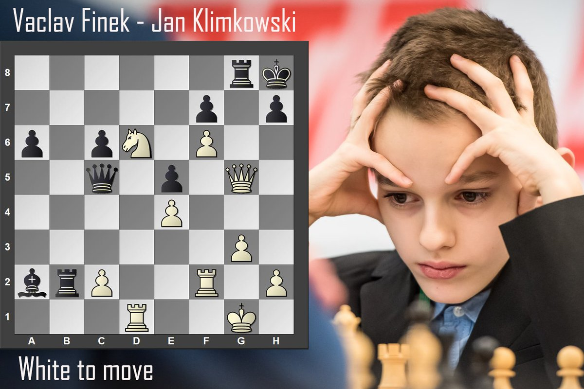 test Twitter Media - Finek Vaclav (🇨🇿 2220) is the highest-rated 10-year-old chess player. These days he is playing in the @PragueChess Futures tournament.   Here is the finale of his game against Jan Klimkowski from round 5. Nice tactics finished Black off. White to move!   #chess #yourmove #puzzle https://t.co/V8stHdwYSS