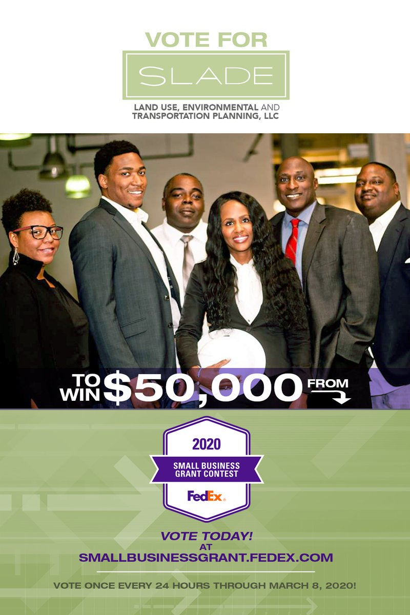 Vote for Slade Land Use, Environmental and Transportation Planning, LLC to win $50,000 from FedEx Small Business Grant Contest today! - https://mailchi.mp/whatshappeningbham/slade50kfedexwhb…pic.twitter.com/UDBRtJ7yTg