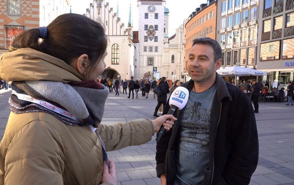 """#ALLATRATV team from Munich  conducted a #socialsurvey within the framework of the project """"THE FUTURE IS NOW"""" on the platform of #ALLATRA international Public Movement. ⠀ #people #society #creativesociety #constructivesociety #truth #opinion #interview #future #unitypic.twitter.com/9eUu2uaPaH"""