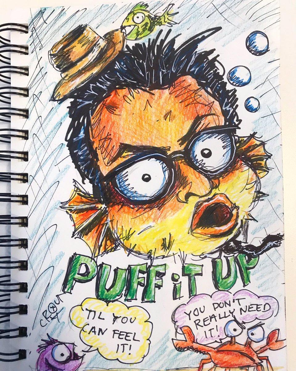 Elvis Costello puffer fish.  #pumpitup #elviscostello #ink #illustration https://t.co/XDx2qmNNSP