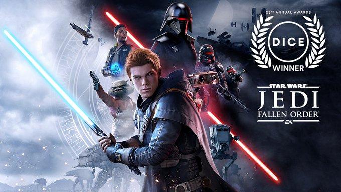 #JediFallenOrder foi premiado como o Jogo de Aventura do Ano no #DICEAwards! Um enorme obrigado à Academy of Interactive Arts and Sciences, às equipes da Respawn e da EA e à comunidade que fez isso acontecer!