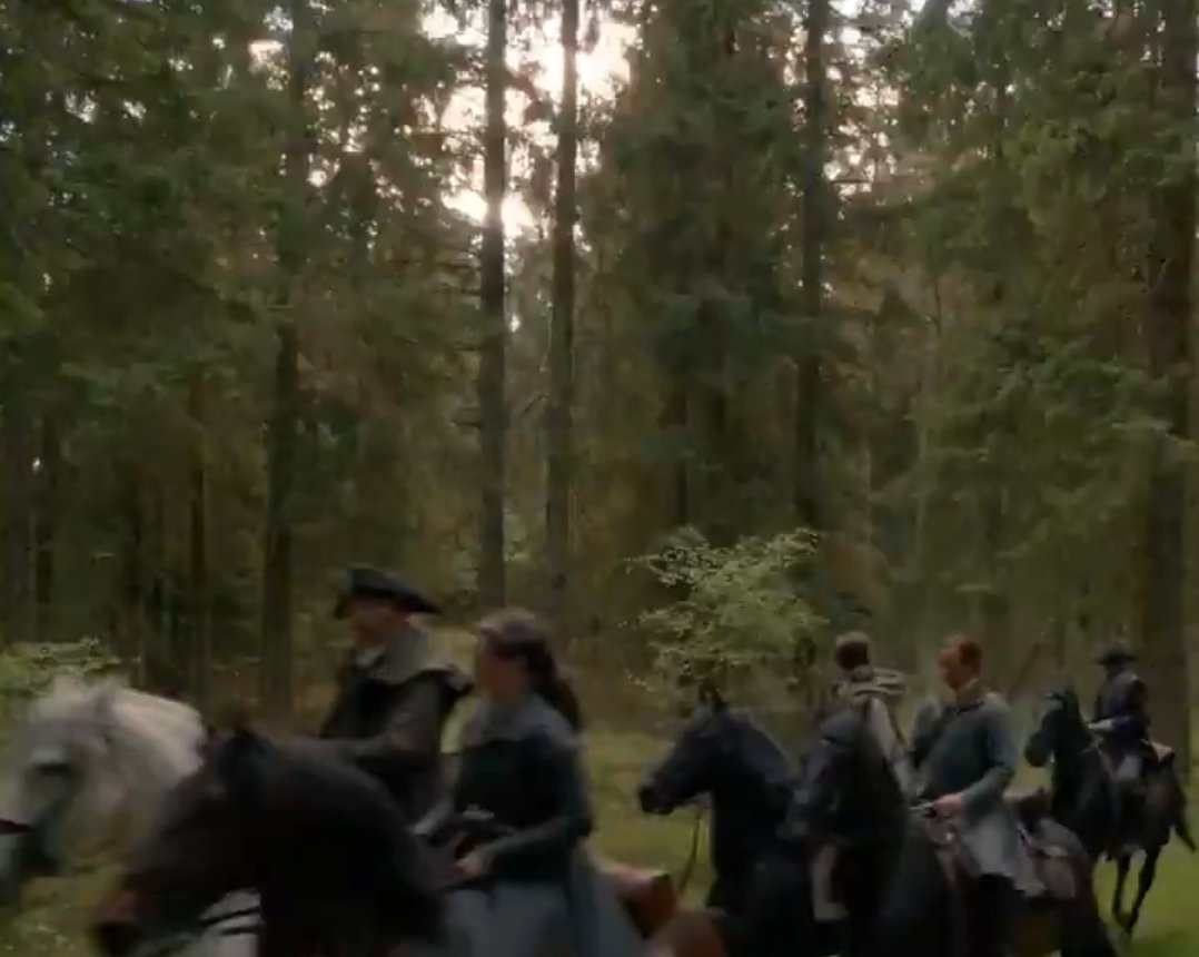 Just as it should be from the book - Claire refusing to leave Jamie's side as another war is approaching. Thye're in this TOGETHER now.