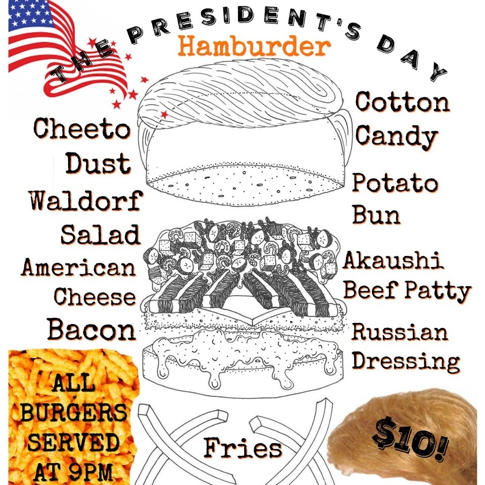 Get 'Cheetled' 4 President's Day! What's Cheetle? The powder that makes @Cheetos so dang delicious That's why our #PresidentsDay Hamburder features Cheeto Dust Cotton Candy All burgers served at 9PM/ $10! ⁠art by: @hncovington  #swiftsattic #eatswiftly #BAB #swiftsbab #atxpic.twitter.com/gDgJxgpEse