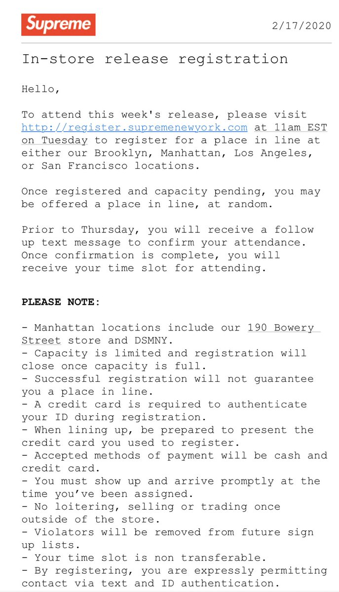 Supreme Week 1 In Store Registration Details   NY/CA - London - Paris