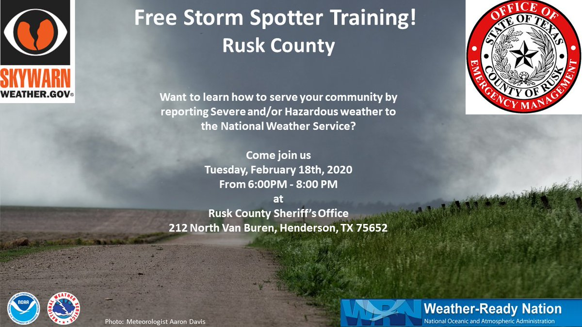 East Texas weather geeks. This a reminder that one our Meteorologists will be in Henderson, TX tomorrow giving a SKYWARN class. Come learn about how you can help us in our severe weather operations by providing us with accurate weather reports. pic.twitter.com/yE2RI60s0Y
