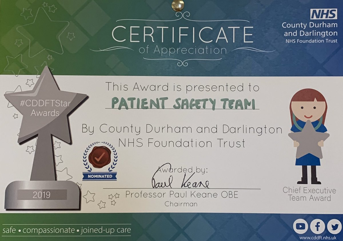 Very proud of the @CDDFTNHS patient safety team getting a certificate of appreciation for their work i. improving reporting and learning from near miss incidents #patientsafety #learningfromincidents