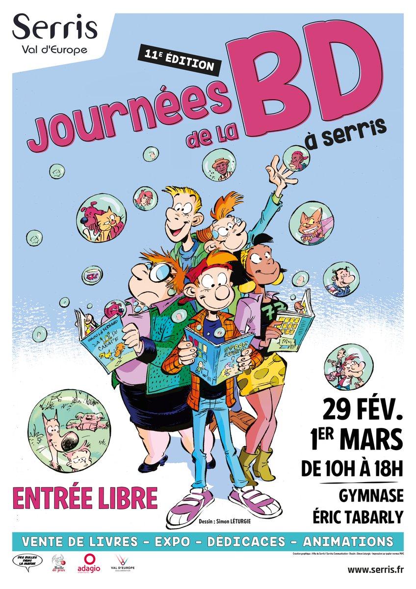 """11e Journées de la BD à Serris samedi 29 février et dimanche 1er mars 2020.<a href=""""https://t.co/4sZHcWEwW5"""" target=""""_blank"""">serris.fr/agenda-133/11e…</a> https://t.co/k1ZOpU02iP"""