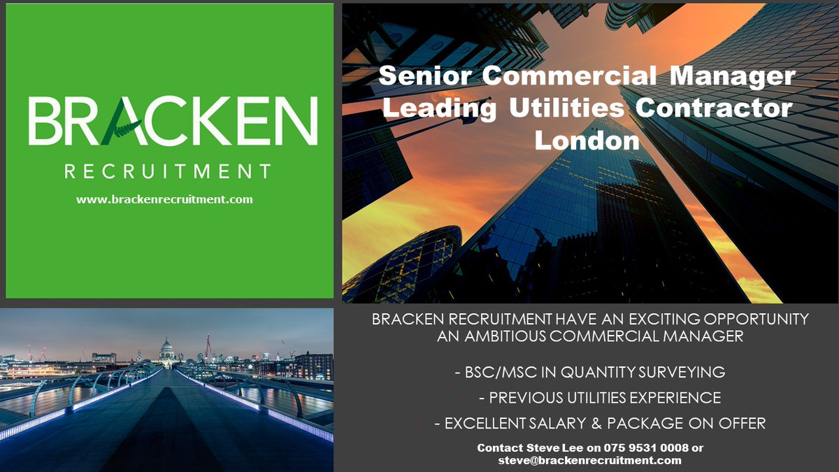 #Recruiting a Senior Commercial Manager for a leading #utilities contractor in London. Call Steve Lee on 075 9531 0008 to discuss  #commercialmanager #constructionrecruitment #londonjobs #contractor #quantitysurveyingpic.twitter.com/QXB6qiewRC