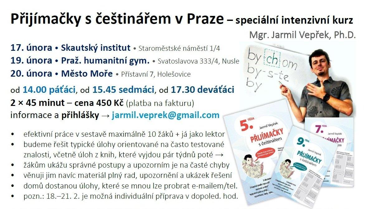 """S pomocí úžasných lidí včetně mnohých z Vás jsem sehnal tři krásná místa vPraze pro tři odpoledne plná češtiny kpřijímačkám (což není """"normální"""" čeština). Teď už jen potřebuji, aby se to dozvěděli Pražané avěřili mi, že dětem pomůžu. Za sdílení či přímá doporučení vřelé díky! https://t.co/ydUMrSSJUM"""