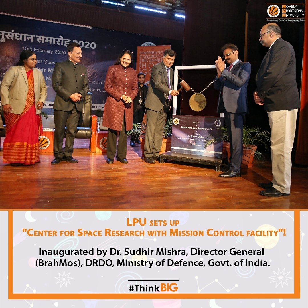 "LPU sets up ""Center for Space Research with Mission Control facility""! We are thrilled to share that DG (#BrahMos), Dr. Sudhir Mishra inaugurated the grand facility by hammering the bell as a clarion call for all the #Scientists at #LPU. #SpaceResearch #ResearchAtLPU #ThinkBIGpic.twitter.com/Lf2I33aX7E"