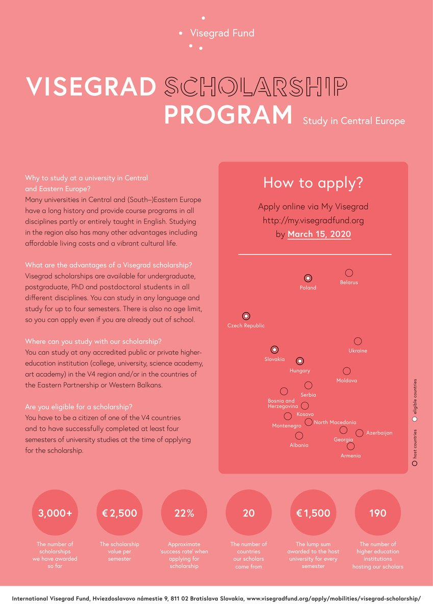 🔺 We would like to draw into your attention that the application for the #VisegradScholarship will be due by the 15th of Mach ‼️ If you are wondering why to apply for a University in Central & Eastern Europe🤔🇪🇺 We have the answers for you👇  #SZTE #Hungary #Szeged #Visegrad  1