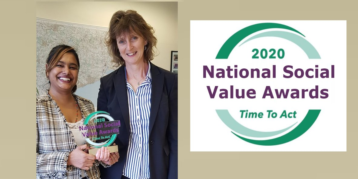 The #EastSussex Social Value Marketplace has been awarded Social Innovation of the year at January's National Social Value Awards 2020.  Seen in photo @CindyN2205 and @BeckyKShaw  #SocialInnovation #sdg17 #TimeToAct