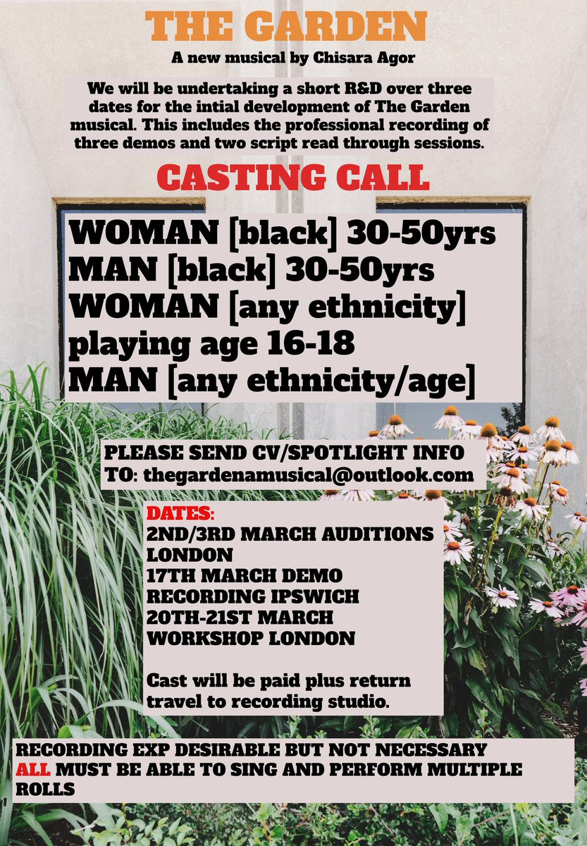 PLS RT. Casting call for a short R&D for my new musical supported by the @MGCfutures bursary!