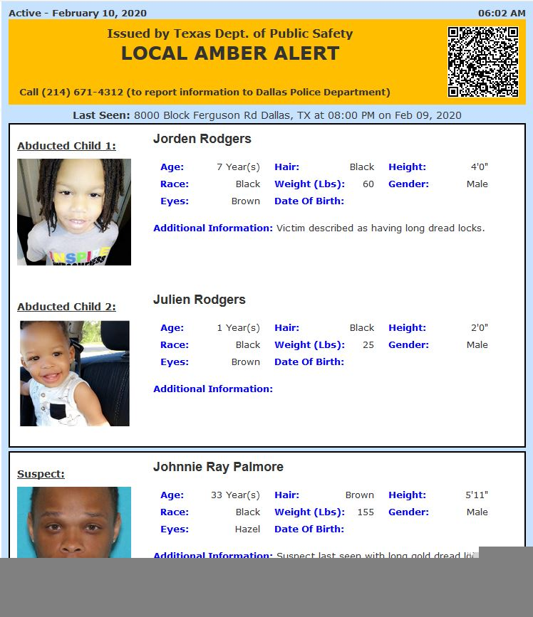 Texas Alerts On Twitter Active Amber Alert For Jorden Rodgers And Julien Rodgers From Dallas Tx On 02 10 2020