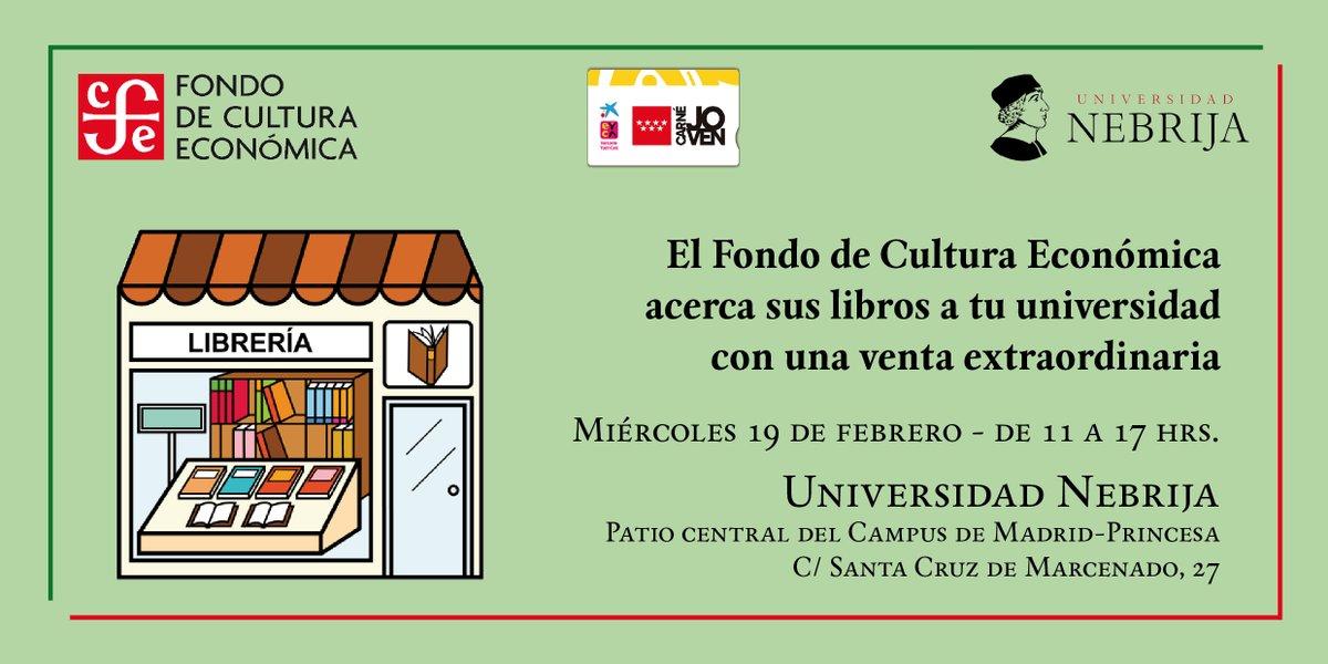 El próximo 19 de febrero llevamos nuestros libros al Campus Madrid-Princesa de @Nebrija con una venta extraordinaria  #TendidoDeLibros #VentaDeLibros #CarnéJovenpic.twitter.com/iqjf97LcfZ