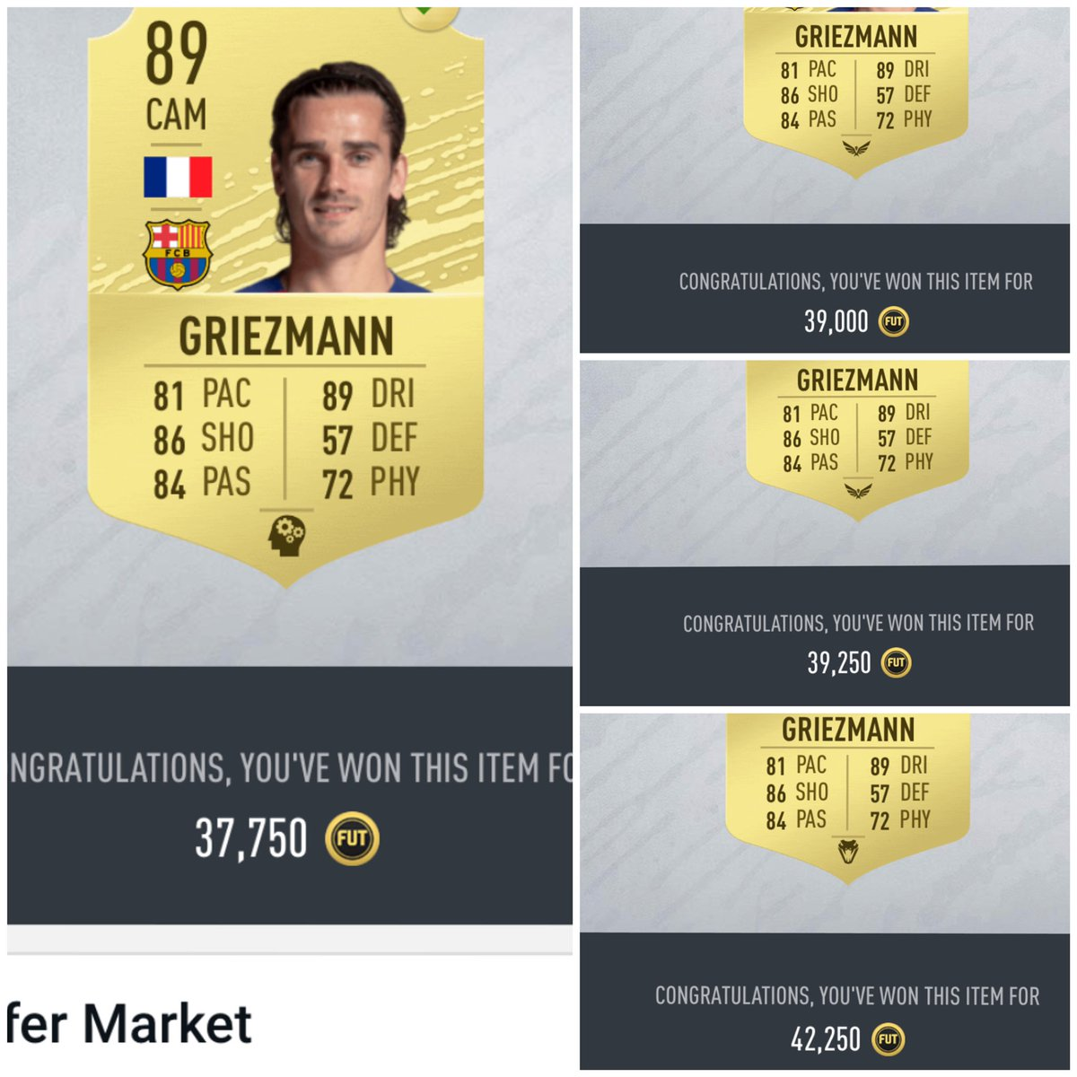 I bought 14 #Griezmann during #SquadBattles #Rewards and sold them 2-3 hours later.  Inv: 576.000 Sales: 655.750 #PAT: 46.963   So, why wait until Thursday? #Fifa20 #investments #Futchampions #FUTureStars #FUT #sbc #FutTrader #FifaTrader #MarqueeMatchUpspic.twitter.com/2U6gDG1Nvm